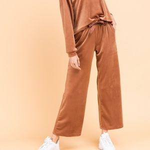 Velvet Lounge Pants - Brick Brown